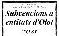 Convocatòria de subvencions de concurrència competitiva per l'any 2021 a Olot